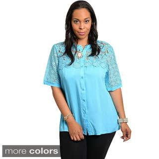 Stanzino Women's Plus Size Embroidered Button-down Shirt