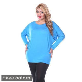 White Mark Women's Plus Size Bat Sleeve Tunic