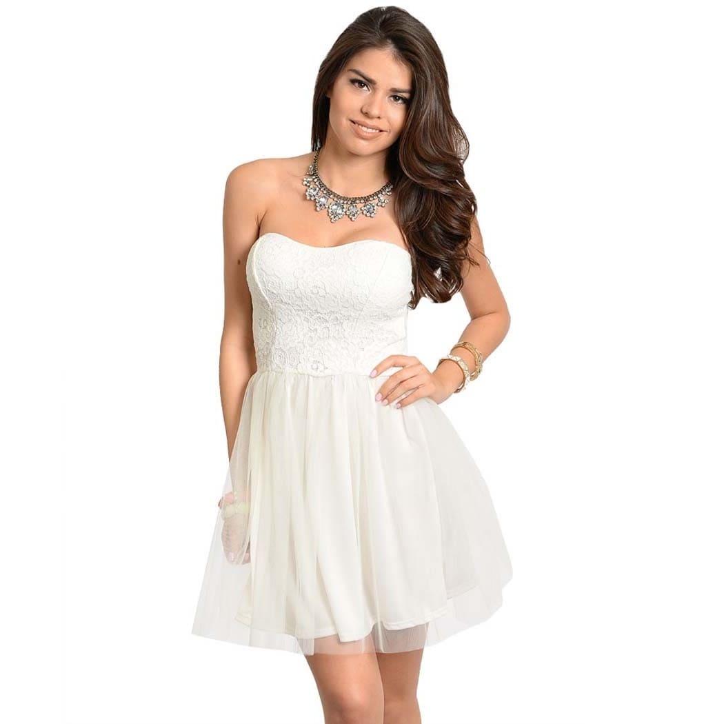 Overstock.com Feellib Women's Formal Ivory Strapless Dress