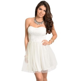 Feellib Women's Formal Ivory Strapless Dress