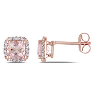 Miadora 10k Rose Gold Morganite and 1/10ct TDW Diamond Stud Earrings (H-I, I2-I3)