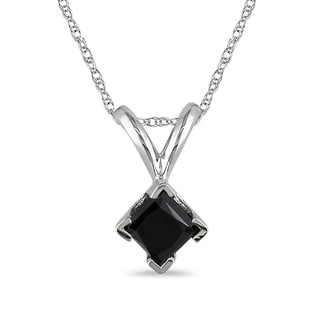 M by Miadora 10k White Gold 1/4ct TDW Black Diamond Solitaire Necklace
