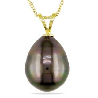 Miadora 14k White Gold Tahitian Black Pearl Necklace (10-11 mm)
