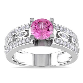 Miadora Sterling Silver Created Pink Sapphire and Created White Sapphire Ring