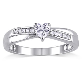 Miadora Sterling Silver Created White Sapphire and Diamond Accent Heart Ring