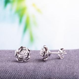 Haylee Jewels Sterling Silver Diamond Flower Earrings (G-H, I1-I2)