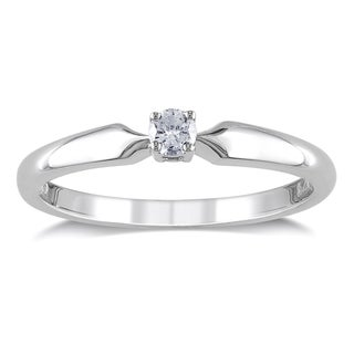 Miadora Sterling Silver 1/10ct TDW Diamond Solitaire Ring (H-I, I2-I3)