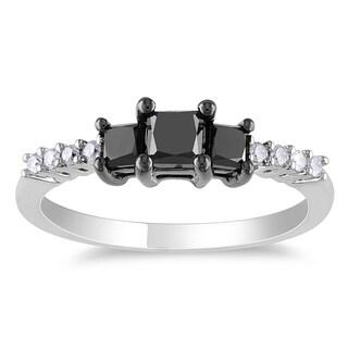 Miadora 10k White Gold 1ct TDW Black and White Diamond 3-stone Engagement Ring (H-I, I2-I3)