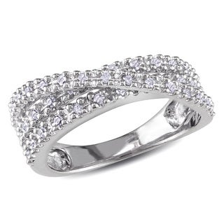 Haylee Jewels Sterling Silver 1/4ct TDW Diamond Crossover Ring (H-I, I2-I3)