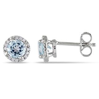 Miadora Sterling Silver 1ct TGW Blue Topaz and Diamond Halo Earrings