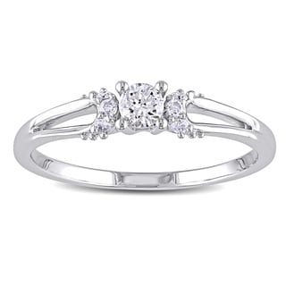 Miadora 10k White Gold 1/5ct TDW Diamond Engagement Ring (H-I, I2-I3)