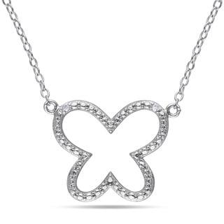 Miadora Sterling Silver Diamond Butterfly Necklace