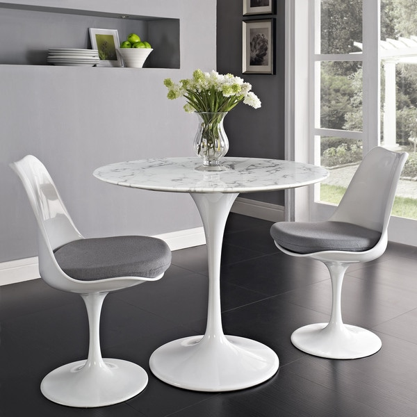 "Lippa Marble Top 36"" Dining Table in White"