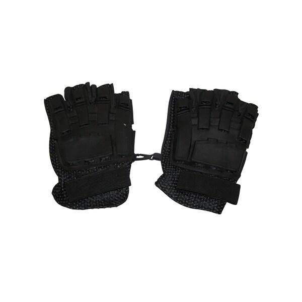 I&I Sports Flexon Black Armored Back Half Finger Paintball Airsoft Bike Motocross Leather Gloves