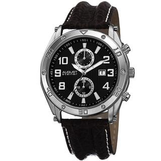 August Steiner Men's Swiss Quartz Multifunction Genuine Leather Strap Watch