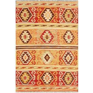 Herat Oriental Afghan Hand-woven Tribal Kilim Brown/ Ivory Wool Rug (4' x 6')
