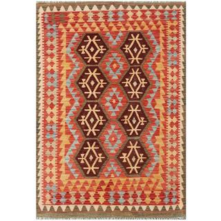 Herat Oriental Afghan Hand-woven Tribal Kilim Salmon/ Light Blue Wool Rug (4'1 x 5'10)