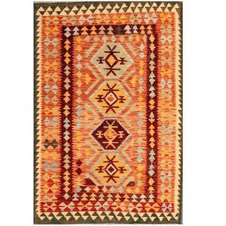 Herat Oriental Afghan Hand-woven Tribal Kilim Salmon/ Ivory Wool Rug (4'2 x 6')