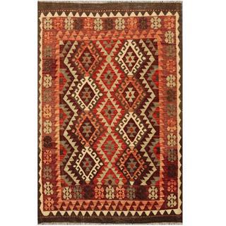 Herat Oriental Afghan Hand-woven Tribal Kilim Burgundy/ Grey Wool Rug (4' x 5'10)