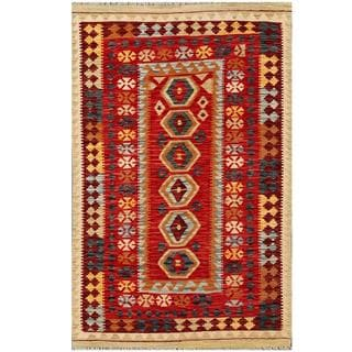Herat Oriental Afghan Hand-woven Tribal Kilim Red/ Blue Wool Rug (4'3 x 6'4)