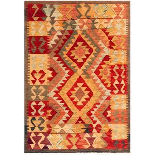 Herat Oriental Afghan Hand-woven Tribal Kilim Red/ Peach Wool Rug (4'1 x 5'10)