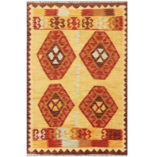 Herat Oriental Afghan Hand-woven Tribal Kilim Tan/ Maroon Wool Rug (4'1 x 6'2)