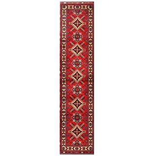 Herat Oriental Afghan Hand-knotted Tribal Karghai Red/ Ivory Wool Runner (2'10 x 12'2)