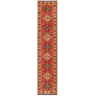 Herat Oriental Afghan Hand-knotted Tribal Karghai Red/ Ivory Wool Runner (2'9 x 13')