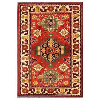 Herat Oriental Afghan Hand-knotted Tribal Kargahi Red/ Ivory Wool Rug (2'9 x 4'1)