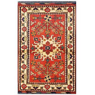 Herat Oriental Afghan Hand-knotted Tribal Kargahi Red/ Ivory Wool Rug (2'8 x 4'1)