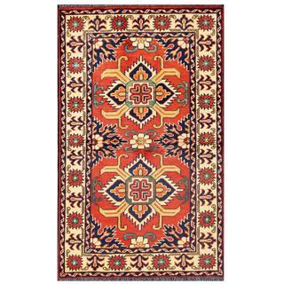 Herat Oriental Afghan Hand-knotted Tribal Kargahi Red/ Ivory Wool Rug (2'8 x 4'4)