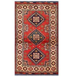 Herat Oriental Afghan Hand-knotted Tribal Kargahi Red/ Ivory Wool Rug (2'8 x 4'5)