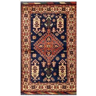 Herat Oriental Afghan Hand-knotted Tribal Karghai Navy/ Red Wool Rug (2'8 x 4'4)