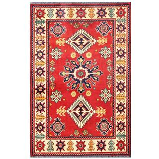 Herat Oriental Afghan Hand-knotted Tribal Karghai Red/ Ivory Wool Rug (2'9 x 4'2)