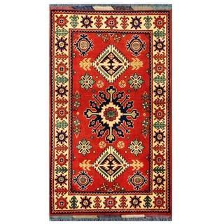 Herat Oriental Afghan Hand-knotted Tribal Kargahi Red/ Ivory Wool Rug (2'8 x 4'7)
