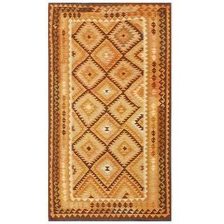 Herat Oriental Afghan Hand-woven Tribal Kilim Brown/ Ivory Wool Rug (4'9 x 8'4)