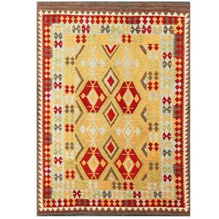 Herat Oriental Afghan Hand-woven Tribal Kilim Red/ Ivory Wool Rug (5'10 x 7'11)