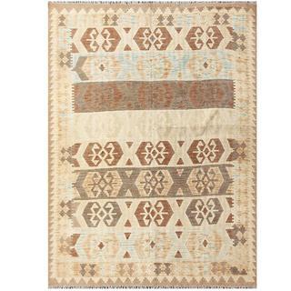 Herat Oriental Afghan Hand-woven Tribal Kilim Brown/ Ivory Wool Rug (5'8 x 7'9)