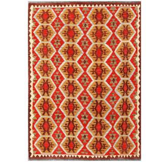 Herat Oriental Afghan Hand-woven Tribal Kilim Beige/ Red Wool Rug (5' x 7')