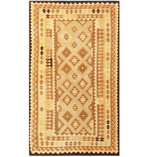 Herat Oriental Afghan Hand-woven Tribal Kilim Brown/ Ivory Wool Rug (4'11 x 8'4)