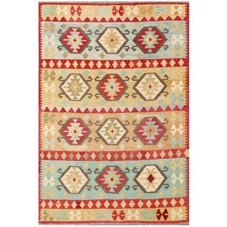 Herat Oriental Afghan Hand-woven Tribal Kilim Red/ Beige Wool Rug (5'6 x 7'11)