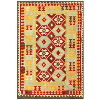 Herat Oriental Afghan Hand-woven Tribal Kilim Red/ Ivory Wool Rug (5'5 x 7'11)