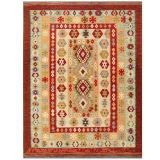 Herat Oriental Afghan Hand-woven Tribal Kilim Red/ Ivory Wool Rug (5'2 x 6'8)