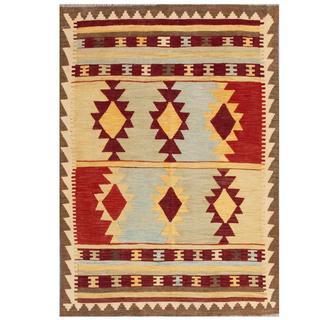 Herat Oriental Afghan Hand-woven Tribal Kilim Burgundy/ Beige Wool Rug (4'3 x 6')