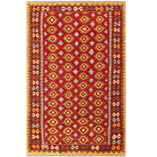 Herat Oriental Afghan Hand-woven Tribal Kilim Red/ Brown Wool Rug (4'6 x 6'11)