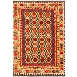 Herat Oriental Afghan Hand-woven Tribal Kilim Red/ Tan Wool Rug (4'10 x 6'10)