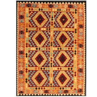 Herat Oriental Afghan Hand-woven Tribal Kilim Maroon/ Tan Wool Rug (4'11 x 6'9)