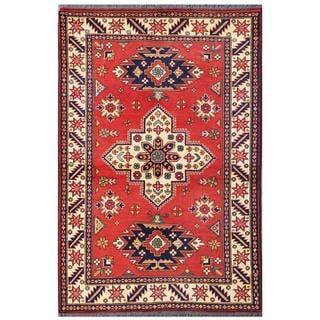 Herat Oriental Afghan Hand-knotted Tribal Kargahi Red/ Ivory Wool Rug (4' x 5'11)
