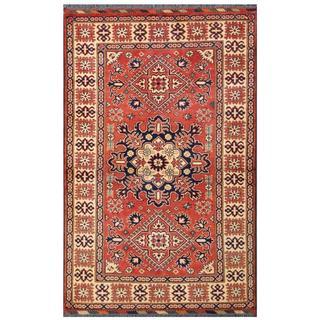 Herat Oriental Afghan Hand-knotted Tribal Karghai Red/ Ivory Wool Rug (4' x 6'1)