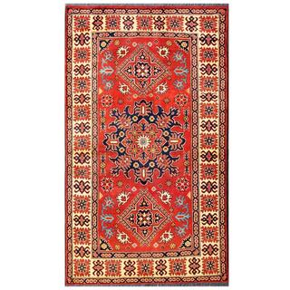 Herat Oriental Afghan Hand-knotted Tribal Karghai Red/ Navy Wool Rug (4' x 6'9)
